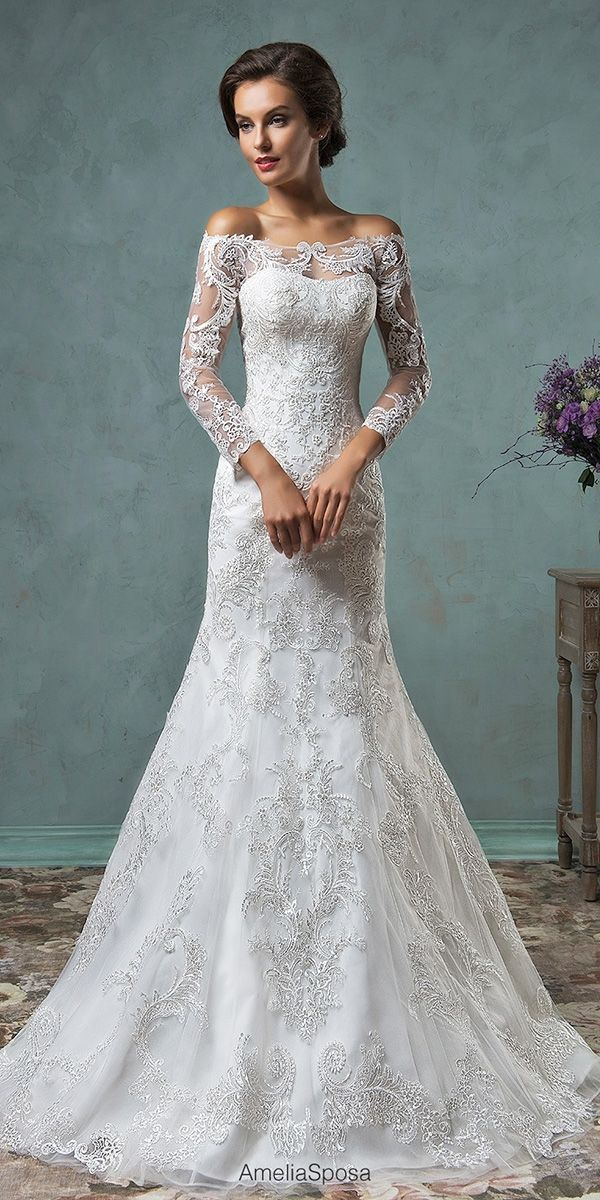 off the shoulder wedding gowns dresses with sleeve 2