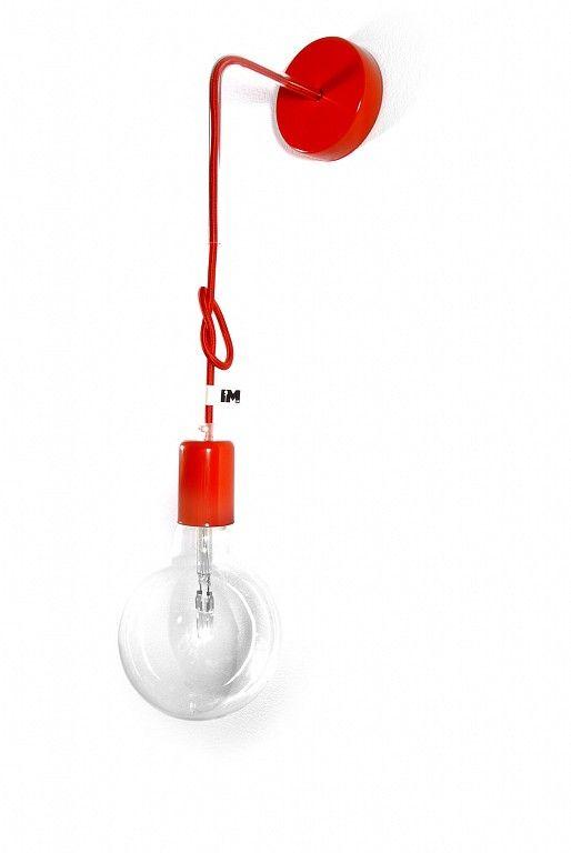 Lampa loft kolorowe kable nowoczesny kinkiet czerwony, więcej tutaj: http://www.sklep.imindesign.pl/product/lampa-loft-nowoczesny-kinkiet-kolorowe-kable-w-oplocie-czerwonym #imindesign #oświetlenie #dekoracyjne #lampa #loft