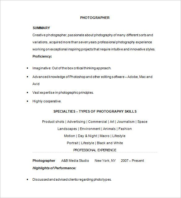 Photographer Resume Template u2013 17+ Free Samples, Examples, Format - freelance photographer resume sample