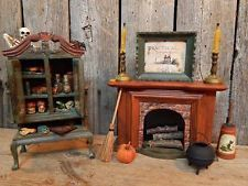 Halloween Witch Old Dollhouse Miniature Magic Potion Cabinet & Fireplace SET OOA