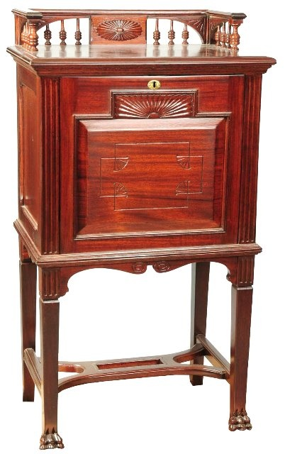 March 30th Auction. From the Guy Zani Jr. Safe Collection: Victorian Ladies Drop Front Jewelry Safe. Circa 1870. Mahogany cabinet with a Herring & Company jewelry safe hidden inside. The safe has two lockable drawers lined in crushed velvet. There is also crushed velvet on the inside of the drop front door which was used by the lady to lay out her jewelry. Purchased from the same Connecticut family who owned it since new. Weighs approximately 275 pounds. #JewelrySafe #GuyZani #MorphyAuctions