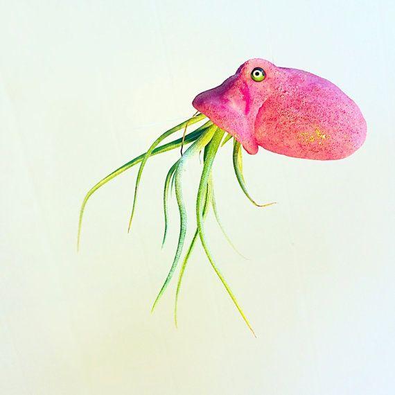 Handmade octopus airplant holder- jellyfish tillandsia holder, airplant octopus, octopus sculpture, tillandsia planter, octopus sea creature