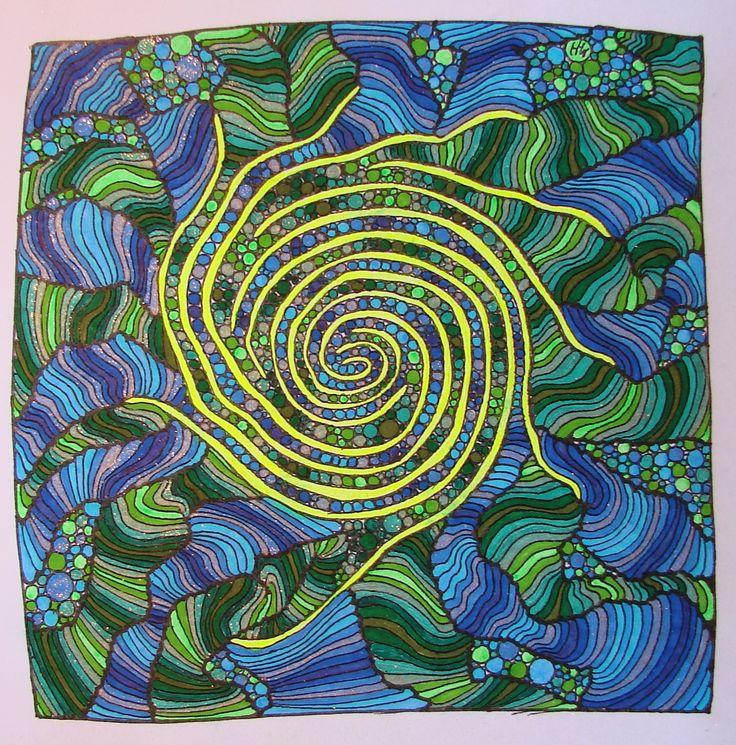 Zentangle No.5 - farvelagt.