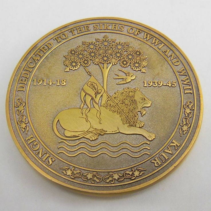 Sikhs in the World Wars Commemorative Coin – EthnicIsland.com.  This coin, which marks the occasion of the 100th anniversary of WW1, is dedicated to the Sikhs of the Two World Wars.