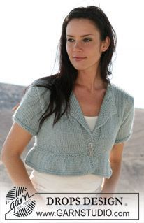 "Short DROPS jacket in stockinette stitch in Silke-Alpaca"". Sizes: XS - XXL. ~ DROPS Design"