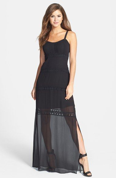 Nicole miller embroidered lace trim maxi dress available for Nicole miller wedding dresses nordstrom
