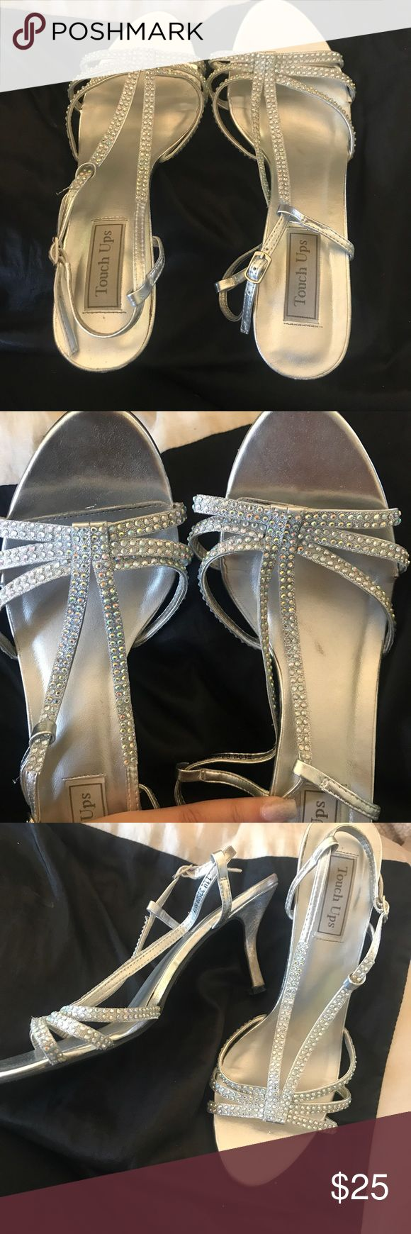 Silver Kitten Heels! Silver Kitten Heels! Marks on the sole of the shoe. Very comfy! Touch Ups Shoes Heels