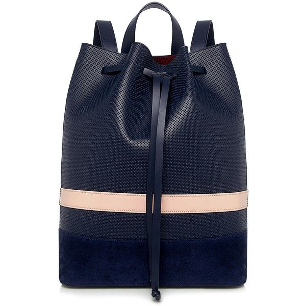 Mother Of Pearl - Wye Leather Bucket Backpack found on Polyvore featuring bags, backpacks, backpack, accessories, handbags, blue leather backpack, genuine leather backpack, day pack backpack, leather daypack and color block backpack