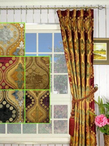 Maia Vintage Damask Goblet Pleat Velvet Curtains - Custom Curtains Drapes Draperies Sheers Rods and Tracks