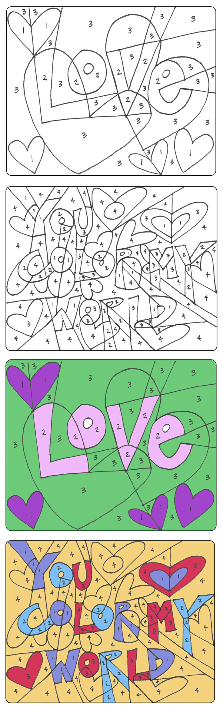 Valentine color by number printables - Color By Number Valentines Use In School Class Party As An Activity
