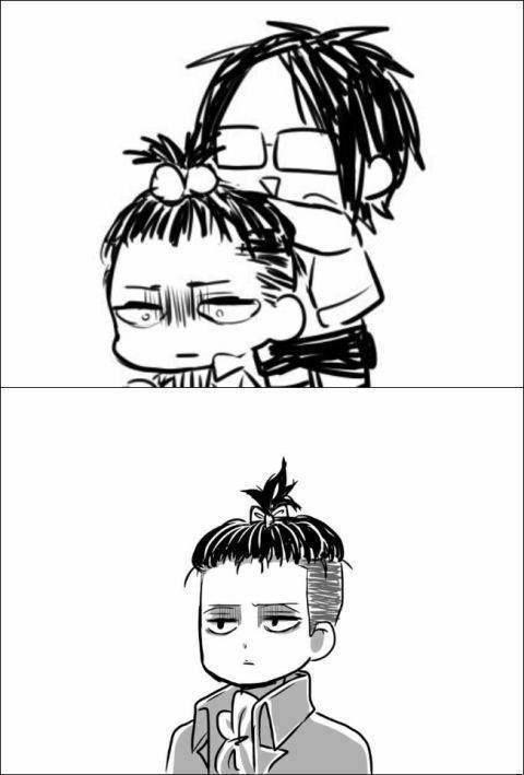 Anime/manga: SNK Characters: Levi and Hanji?, take a good look at the hair!
