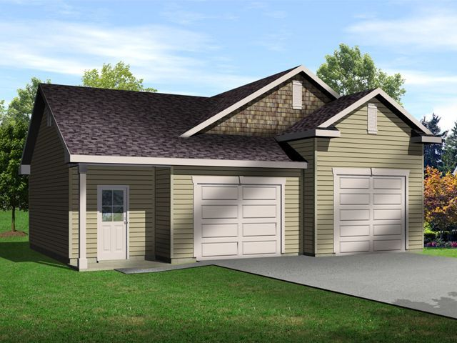 Two car garage with one bay tall enough for an auto lift for 2 bay garage plans