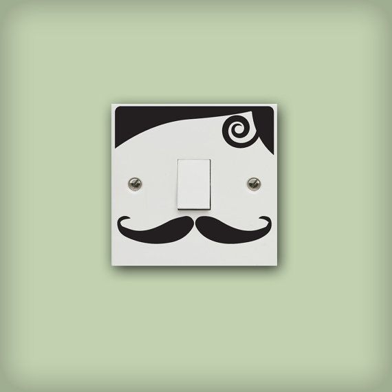 Light Switch Decal Moustaches