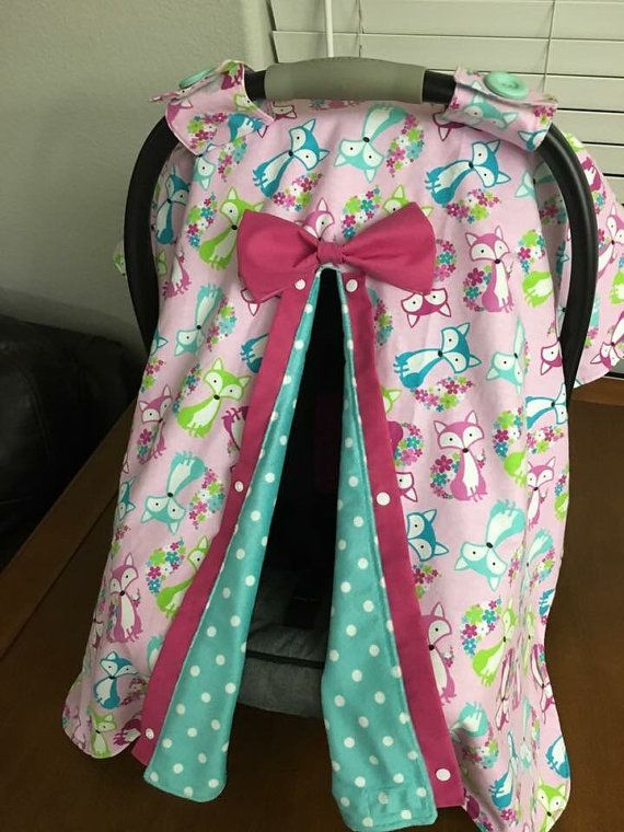 MINKY floral fox car seat canopy, infant carrier cover, car seat canopy, baby girl, woodland animal, flowers, polka dot, turquoise