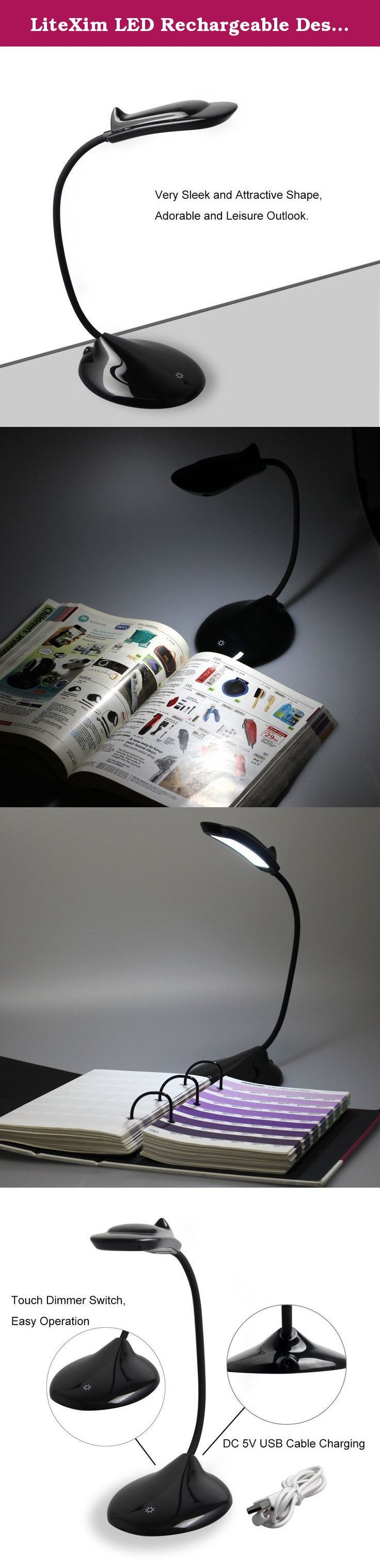 LiteXim LED Rechargeable Desk Lamp Modern Dolphin Designed Flexible Neck-Touch Control,3-Level Adjustable Brightness, Eye-Care Table Light USB Charging Port (Black). LiteXim Modern Dolphin USB Table Desk Lamp Description: This dolphin led desk lamp is modernize designed. With the gentle light, you can read and work casually indoor. 3 levels adjustable brightness, it will suit your need perfectly. Adjustable neck, you can adjust the light as you need. We focus on details, only want you…