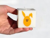 Easter Bunny, Yellow Egg candle, Kitschy Rabbit