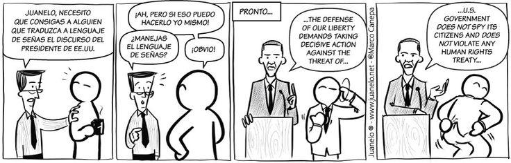 Juanelo Lenguaje de señas - @Juan Ulloa se ofrece para traducir a lenguaje de señas el discurso de Obama... - El Definido