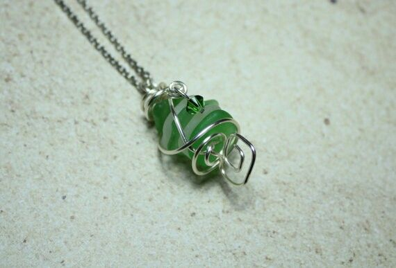 Genuine sea glass necklace with pendant