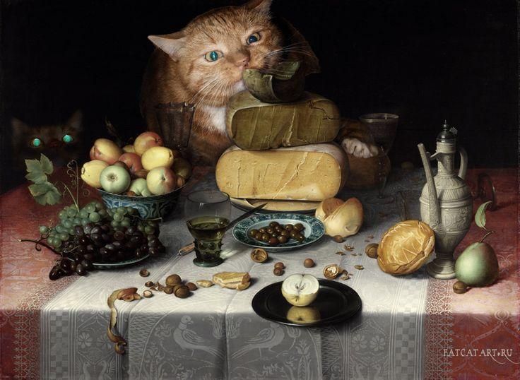 , Натюрморт с сырами и котами