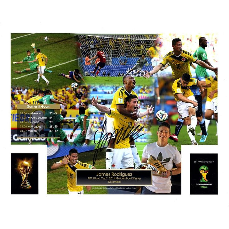 James Rodriguez Signed FIFA 2014 World Cup Golden Boot Winner 16x20 Photo (Icons Auth & Third Party Holo)