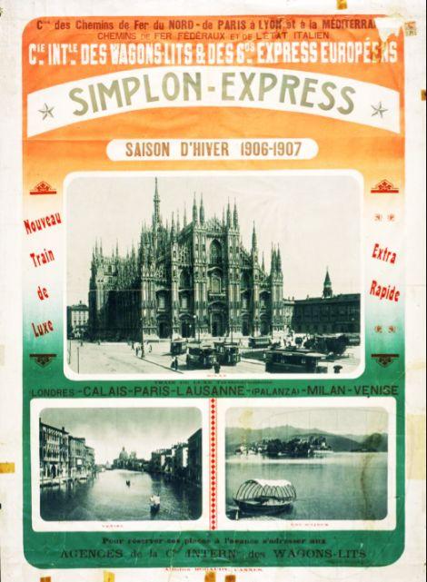 Simplon-Express, treno di lusso - collega Londra a Venezia, via Calais, Parigi Losanna, Pallanza, Milano e Venezia - Stagione invernale 1906-1907 -  Archivi Federali Svizzeri, Swiss Poster Collection
