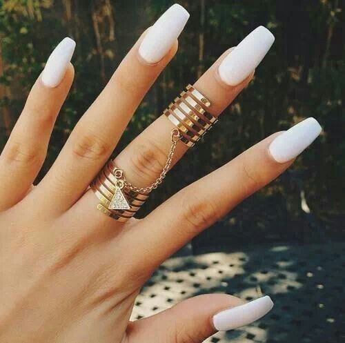 Coffin white matte nails