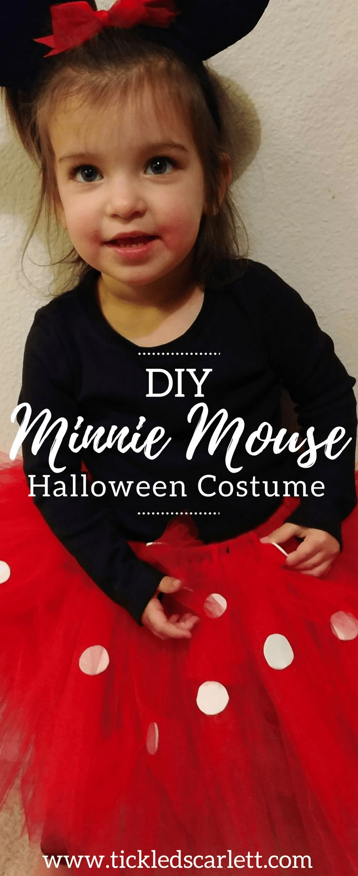 DIY Minnie Mouse Halloween Costume - Toddler Costume Idea from Tickled Scarlett Blog #halloween #diy #costume