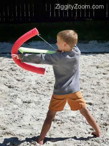 bow and arrow for kids with a pool noodle