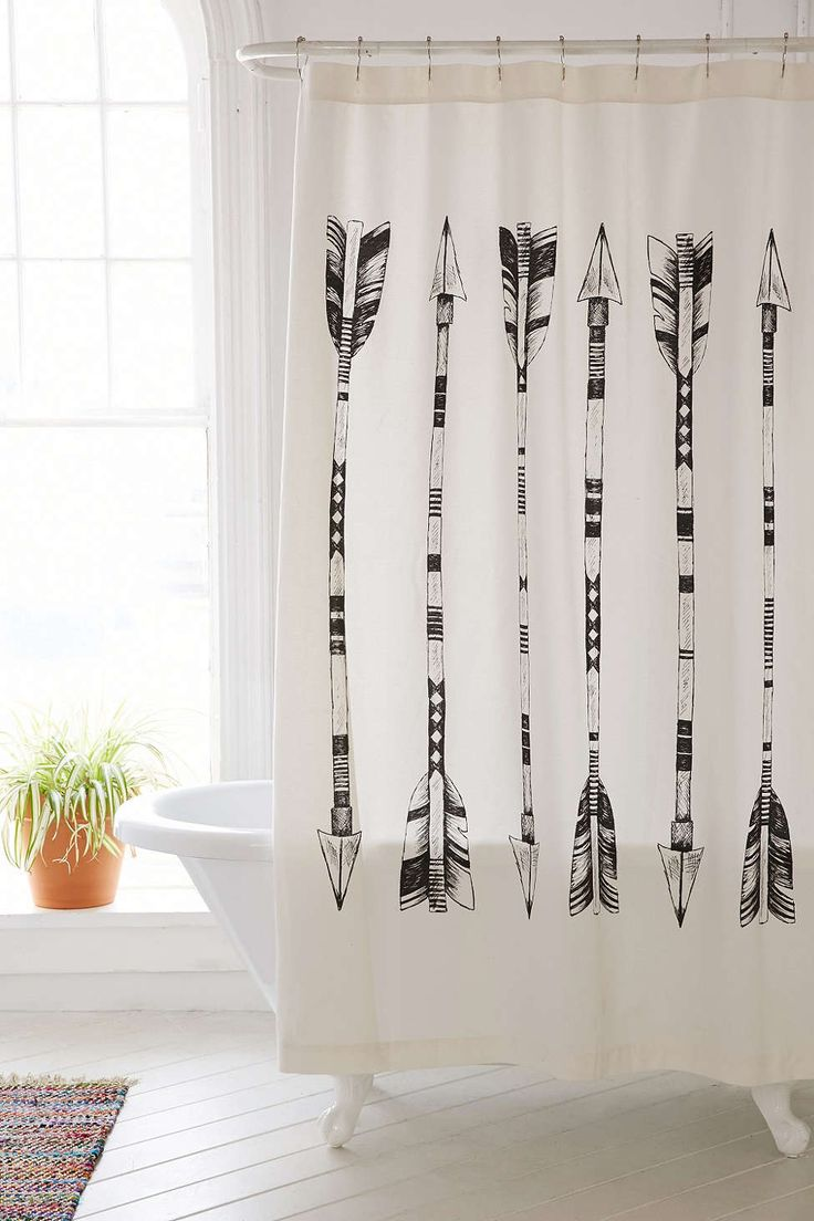 4040 Locust Black White Arrows Shower Curtain