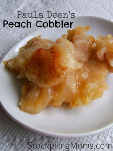 Paula Deen's Peach Cobbler recipe is yummy! Perfect after dinner dessert recipe. #pauladeen #dessert #peachcobbler
