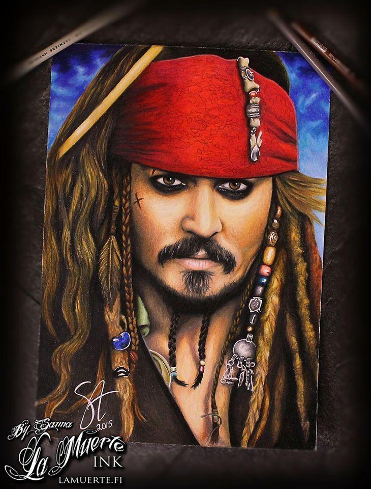 Johnny Depp as Jack Sparrow from Pirates of caribbean potrait by Sanna Angervaniva @ La Muerte Ink