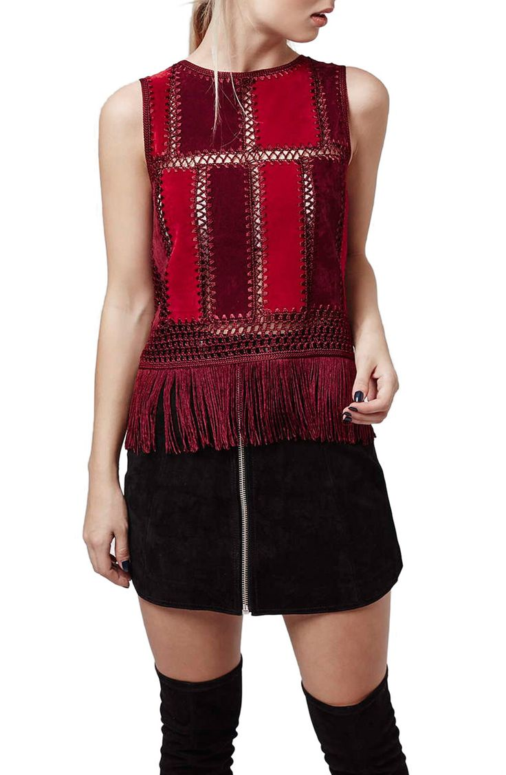 Topshop Fringe Sleeveless Faux Suede Top