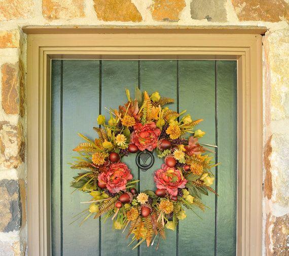 Autumn Splendor Stunning Peony Mum and Acorn Wreath Fall