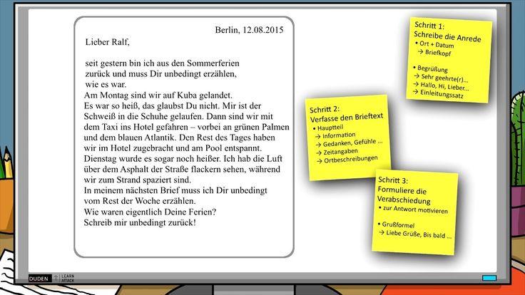 #Lernvideo: Wie du einen persönlichen Brief schreibst Einfach Schritt für Schritt erklärt. #Bildung #Deutsch #kreativesSchreiben #Schule #Lerntipps