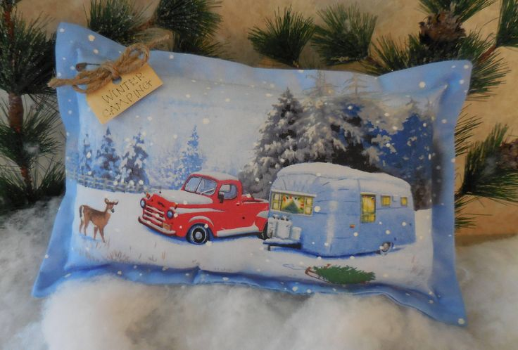 Primitive LETS GO CAMPING Winter Christmas Camper Retro Trailer Pillow Tuck by #auntiemeowsprims on Etsy