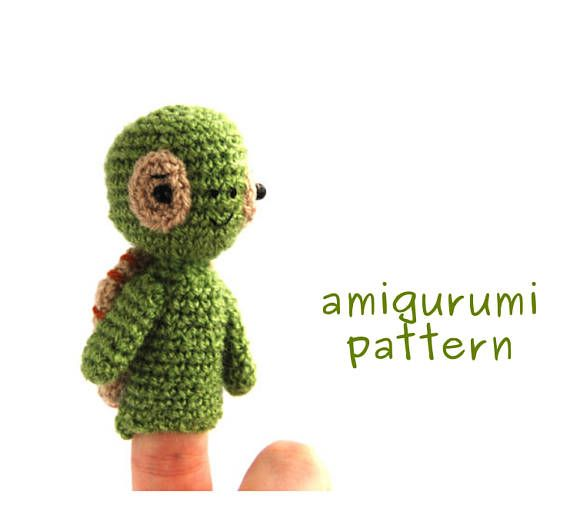 $3.52 #amigurumi #turtle #pattern, #crochet #finger #puppet #tutorial, #turtle #PDF, #gift #from #grandmother, #makeityourself, #crochet #pattern #amigurumi