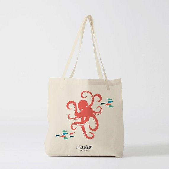 X115Y Tote bag Octopus, canvas bag, shopping bag, handbag, diaper bag, shopping bag, bag, nature bag, animal bag