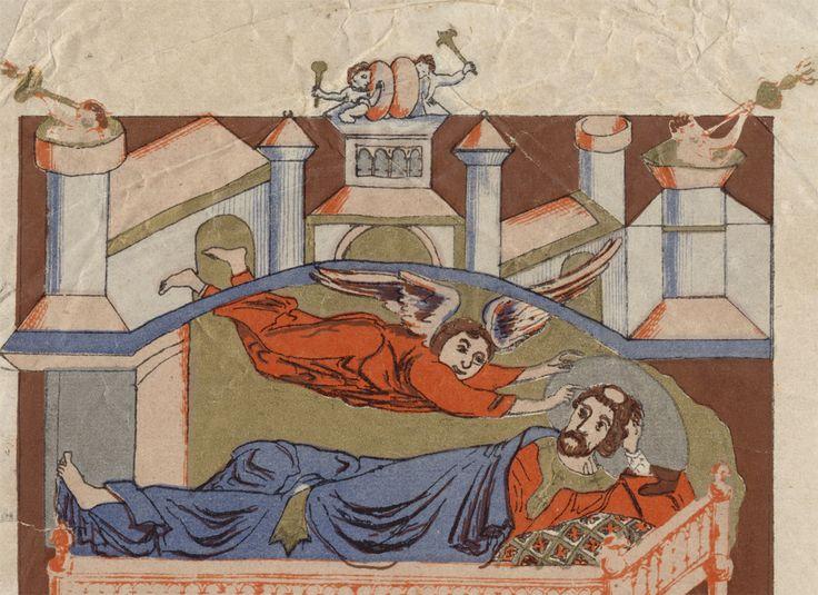 Troisième apparition de saint Michel à saint Aubert en 706 Troisième apparition de saint Michel à saint Aubert en 706 [sic pour 708], chromolithographie d'après une gravure du XIIe siècle, extraite d'E.-A. PIGEON, Description historique et monumentale du Mont Saint-Michel, Avranches, H. Tribouillard, [1865].