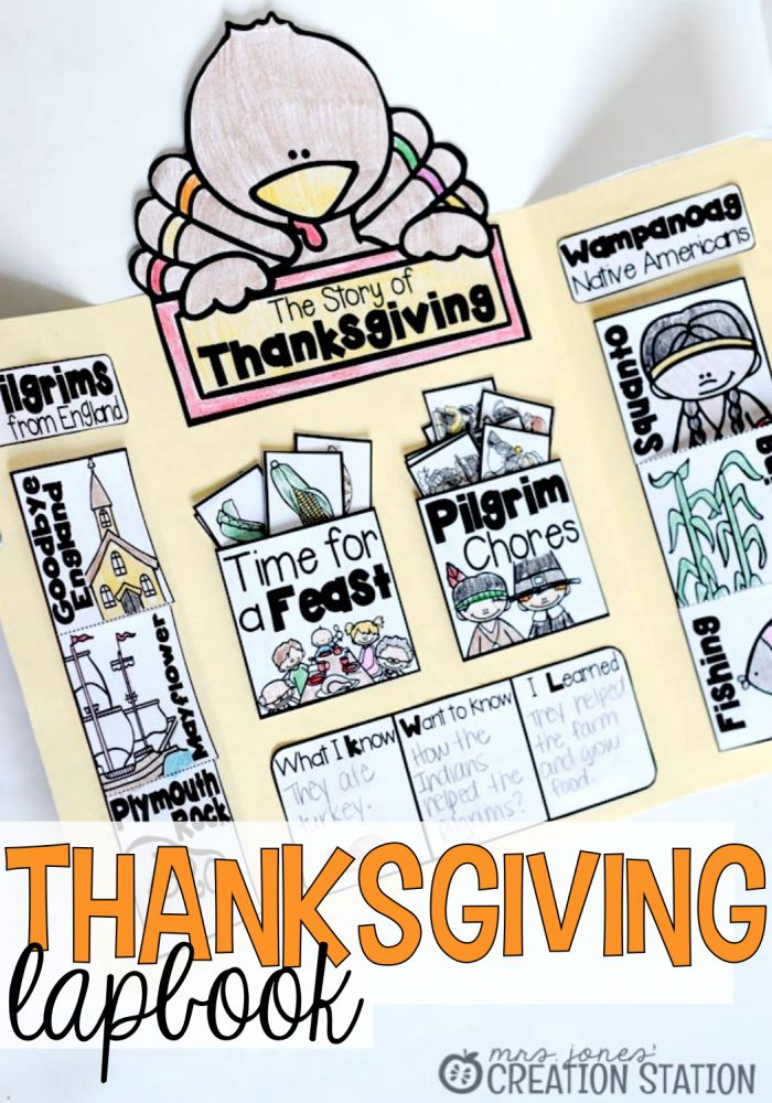 Interactive Thanksgiving Lapbook includes lessons on the Pilgrims and Native Americans.