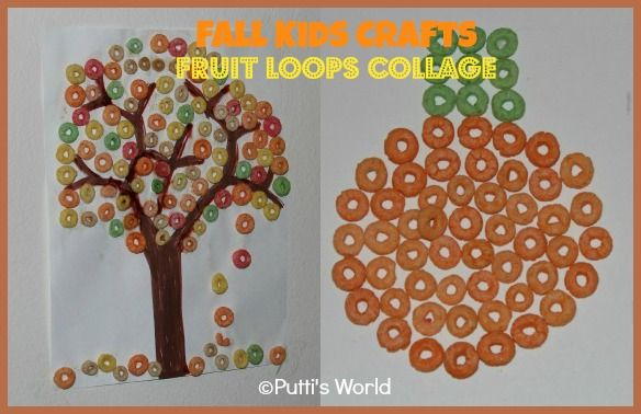 ThisFruit Loops Collageis a really simple Fall/Halloween Kids Craft activity with minimal/no mess and is great forcolorsorting too.