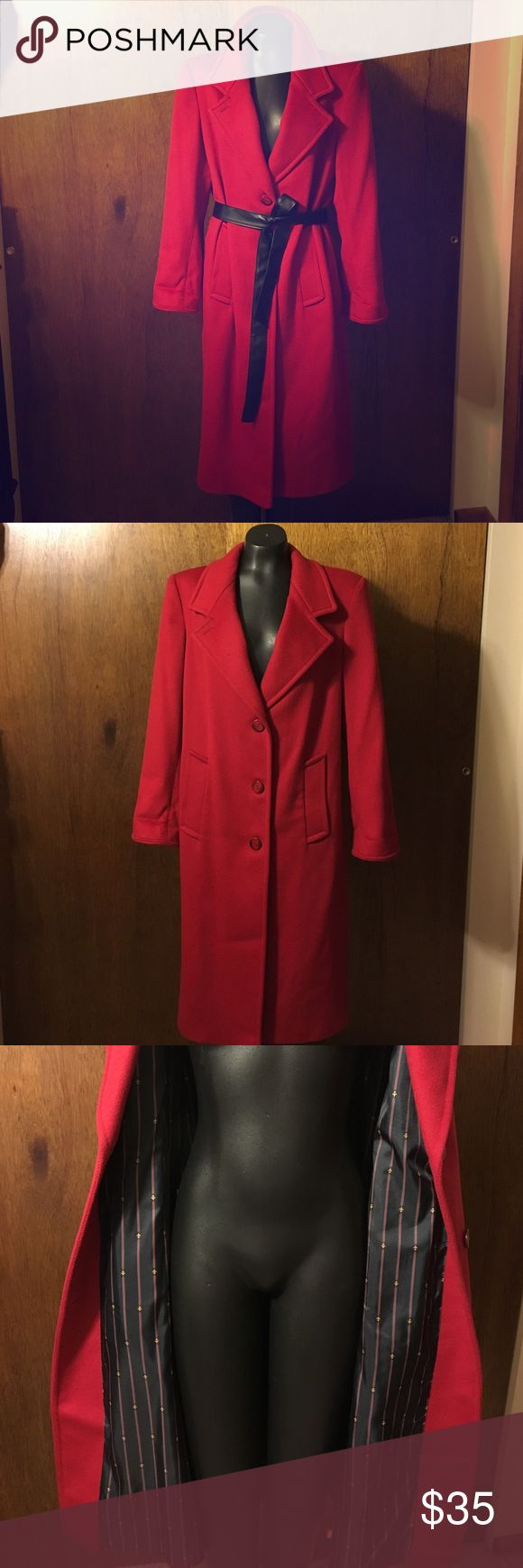 Ashley Scott Red Coat This is gently loved Ashley Scott, red , wool coat. This coat is in amazing condition but does have a hole in the one armpit which can be sewn very easily!! It does not have a size on it, but I included pictures of the length and measurement from shoulder to shoulder. Very warm and a statement piece!!! THE BLACK BELT IS NOT INCLUDED ONLY USED FOR STYLING IDEAS!!!!! Get this amaZing coat while you can!! Was recently dry cleaned!!! Ashley Scott Jackets & Coats