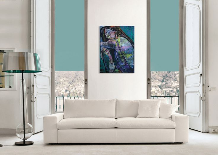 Simple and elegant interior and art -  comfortable and modern Italian white sofa. Wnętrze i obraz, creative & unique. Contemporary painting of a woman - 'Summertime 3' by @anialuk_art