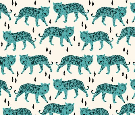 Tigers - Blue fabric by papersparrow on Spoonflower #papersparrow #tiger #fabric #surfacedesign