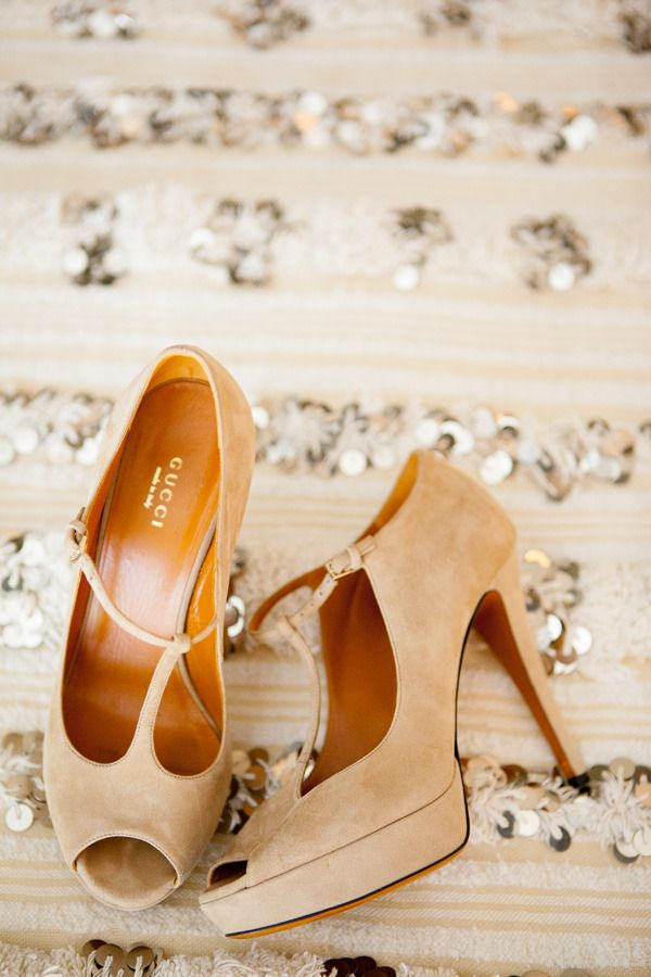 Fawn Suede T-Strap Heels | Birds of a Feather | Barely There - Fawn Brown and Blush Wedding Inspiration