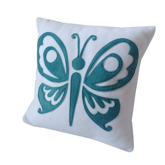 Fleece Applique Butterfly cushion teal