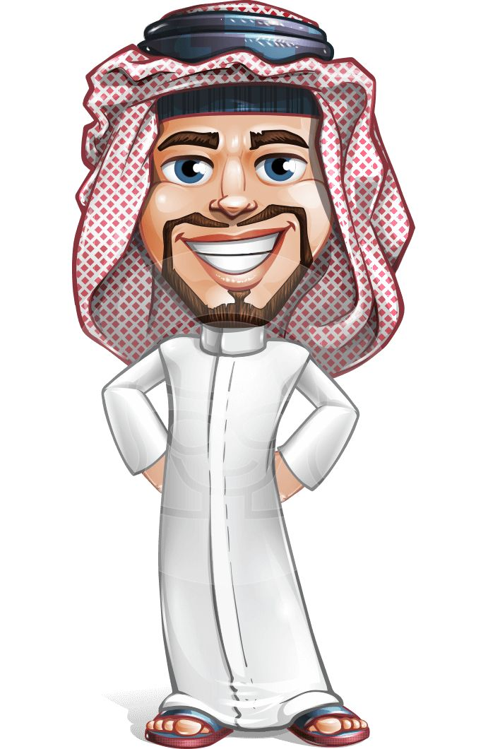 Faysal the Decisive - a male vector character of Arab origin, wearing a patterned keffiyeh and a thawb. #Arab #vector #cartoon #character