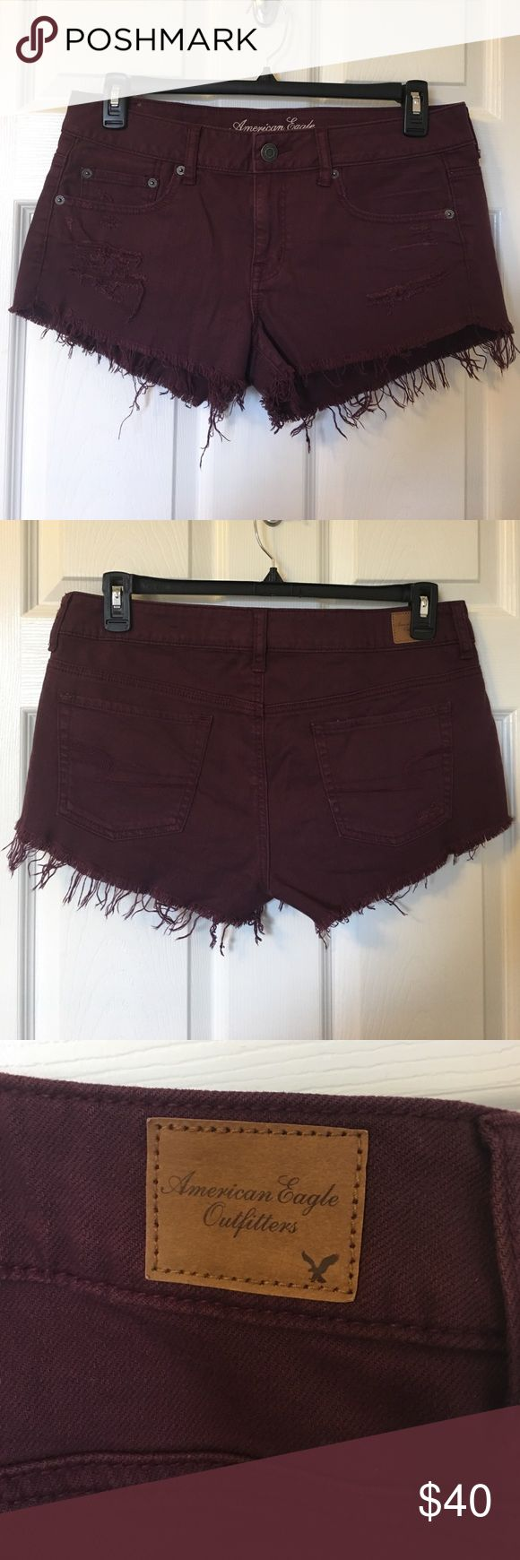 Like New! American Eagle HI RISE Burgundy Shorts In perfect condition! Stretchy, frontal distressing. No Trades American Eagle Outfitters Shorts Jean Shorts