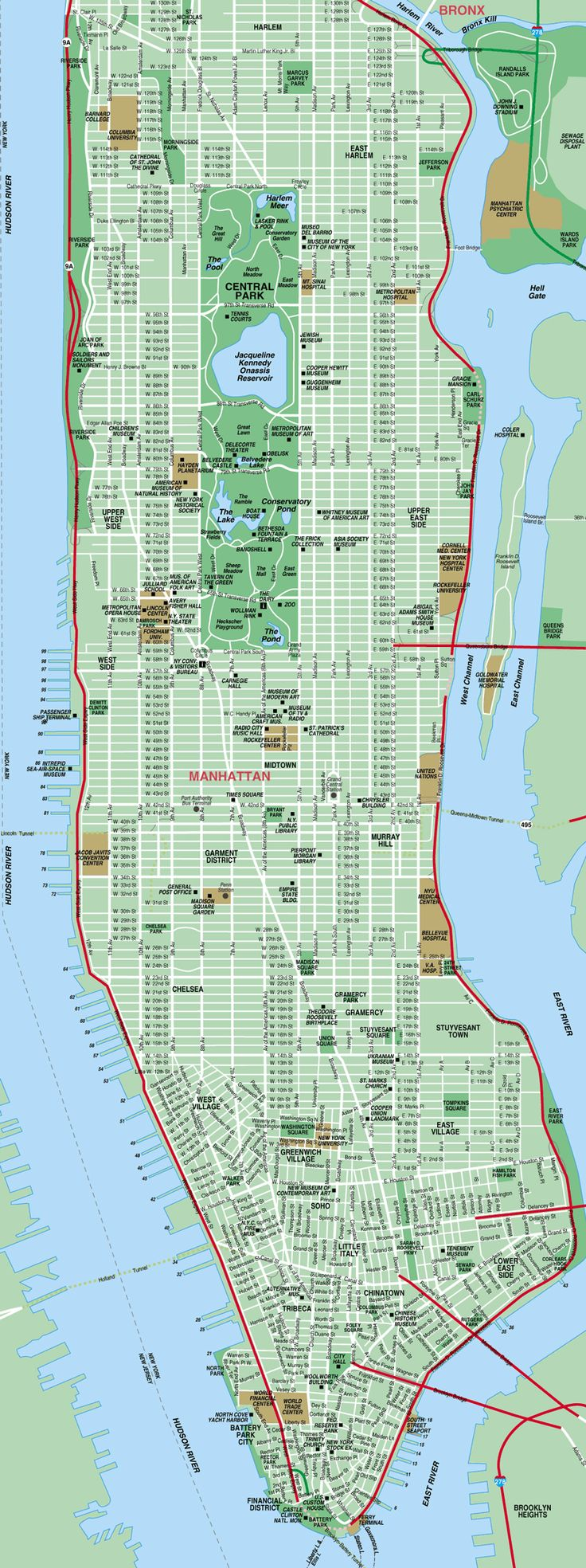 Printable Map of Manhattan | The International House is just to the northwest of Columbia ...