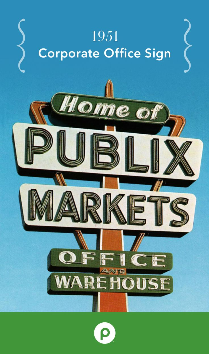Original sign for the Publix corporate office and warehouse, built in Lakeland, FL in 1951.