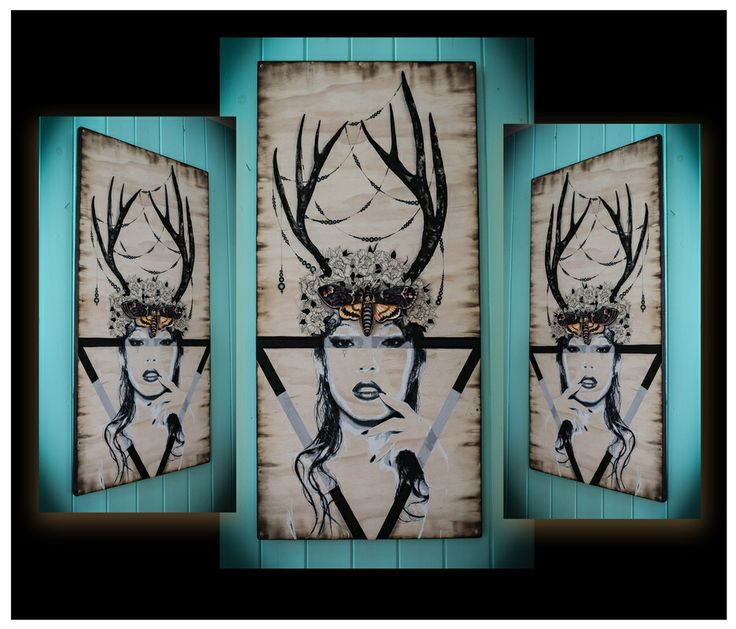 Tryst, By Chantella Viala 24x48, on pine wood panel acrylic and mixed media